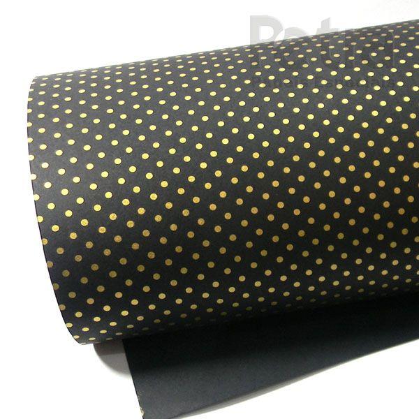 Papel Poás - Preto com Dourado - Tam. 32x65cm - 180g/m²