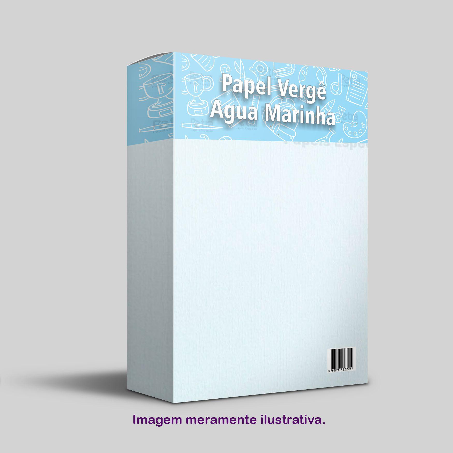 Papel Vergê Água Marinha ( azul ) Tam: A4 180g/m² - 50 Folhas