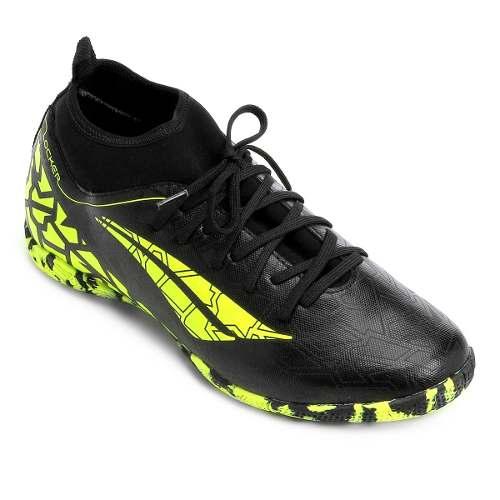 Chuteira Futsal Penalty Locker 7 Masculina - Preto E Amarelo