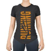 Camisa Feminina Elite Running Preto\laranja - Original