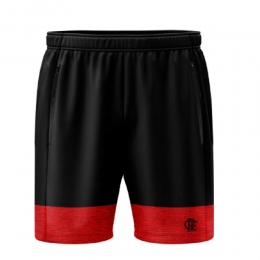 Bermuda Braziline Flamengo Contain Masculina - Preto / Vermelho