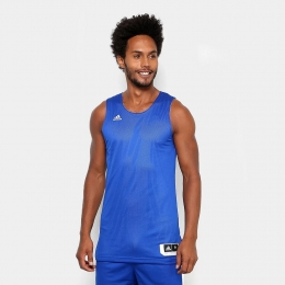 Camiseta Regata Adidas Treino Reversível Dupla Face Masculina - Azul e Branco