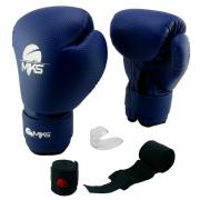 Kit Luva + Bandagem + Protetor Bucal Mks - Azul