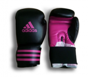 Luva Boxe Adidas Power 100 Preto / Rosa - 16oz