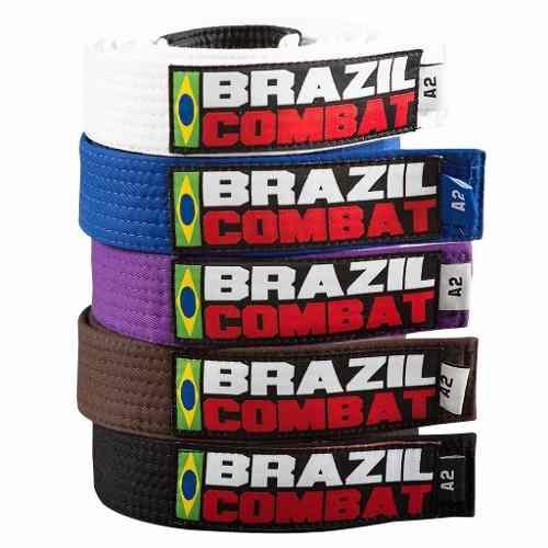 Faixa Especial Brazil combat Preto com Ponta - Adulto - A4