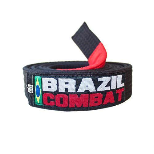 Faixa Especial Brazil combat Preto com Ponta - Adulto - A5