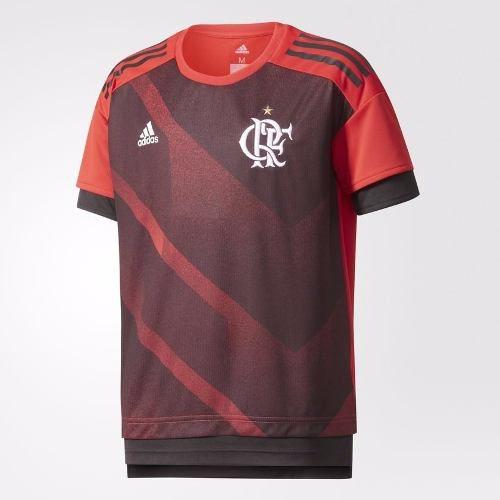 Camisa Infantil Flamengo Adidas - Pré Jogo - Oficial 2017/18