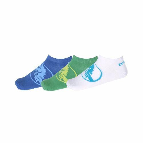 Kit Meia Sapatilha Crocs - com 3 Meias - Branca\Verde\Azul