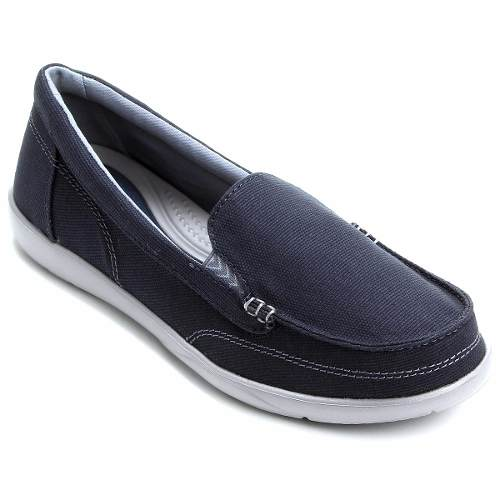 Sapato Crocs Walu Ii Canvas Loafer Feminino Original - Azul