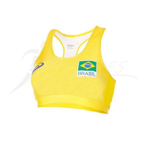 84d28d8a0e58e ... Top Oficial Seleção Brasileira Vôlei - Asics Original 2018