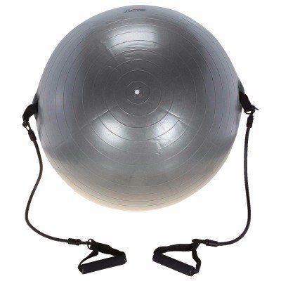 Gym Ball com Extensores - Acte Sport - Cinza 65Cm