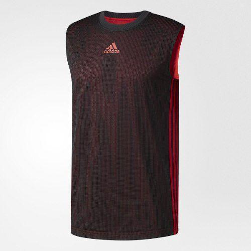 Camiseta Regata Dupla Face Adidas - Vermelho / Preto-