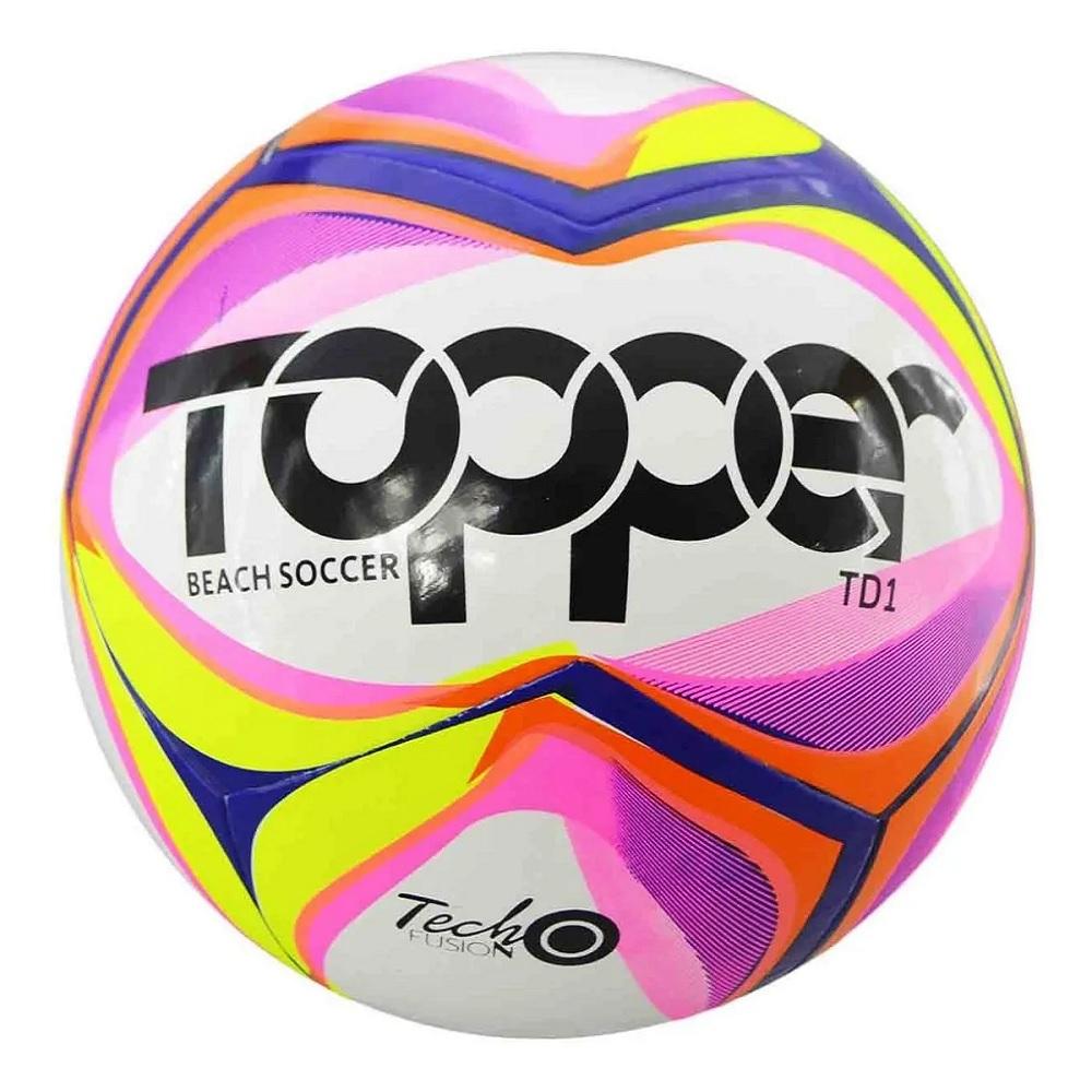 Bola de Futebol de Praia Topper Beach Soccer -  Branca / Rosa / Amar Neon