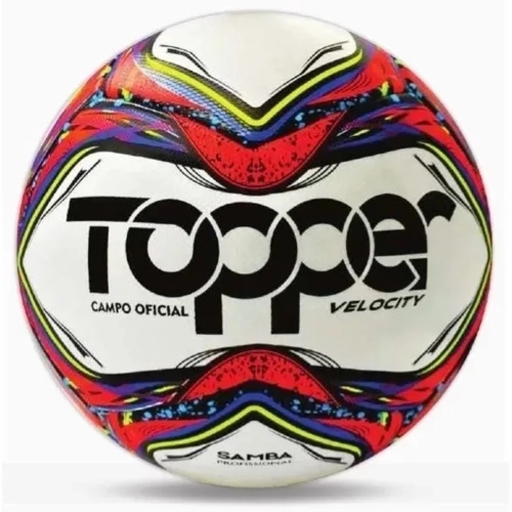 Bola de Futebol Topper Campo Samba Velocity Pro 2021 - Branca / Vermelha Neon