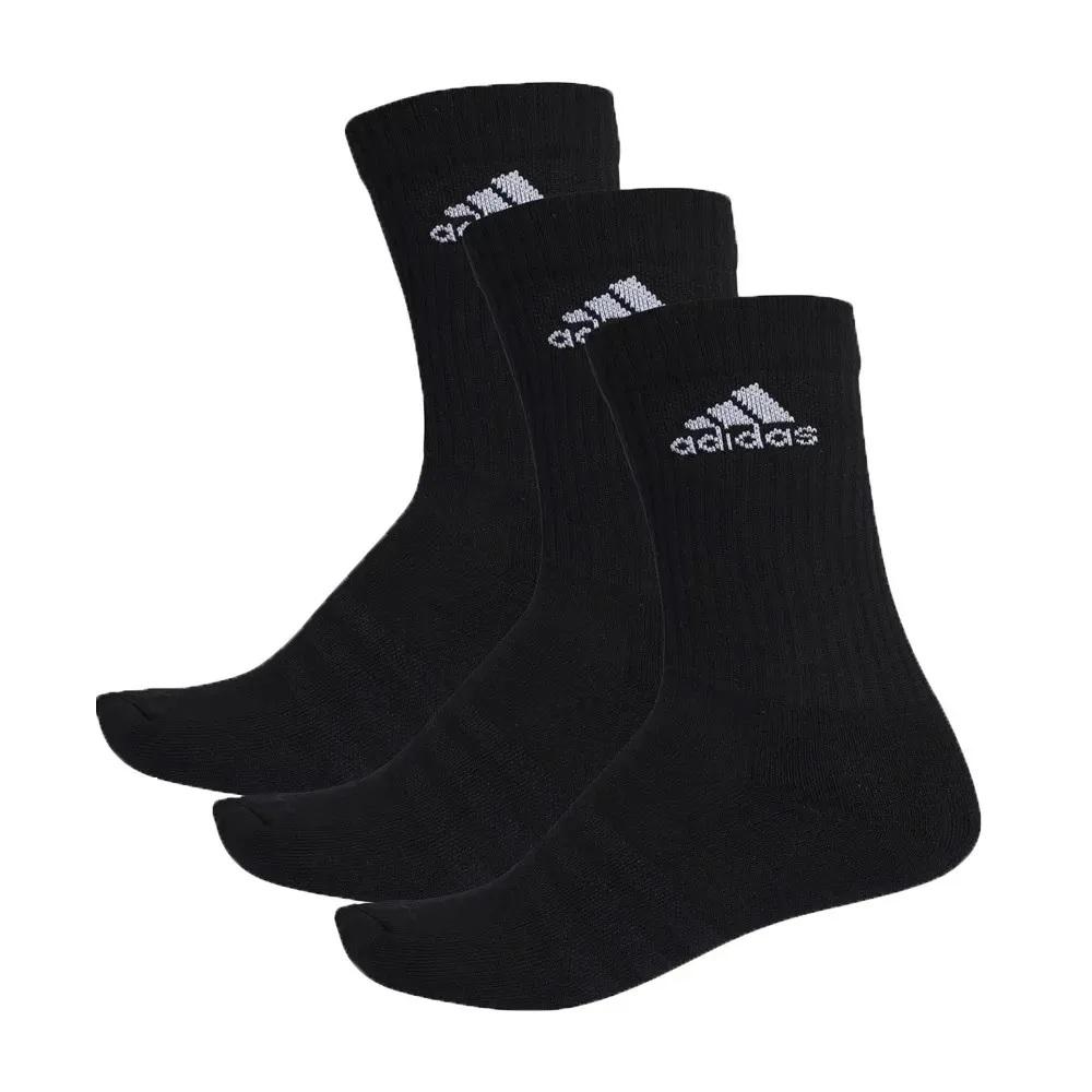 Meia Adidas cano longo cush CRW 3 pares - preto