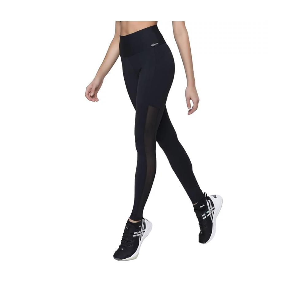 Calça Selene Legging Com recortes cirrê - preta - 20891.005