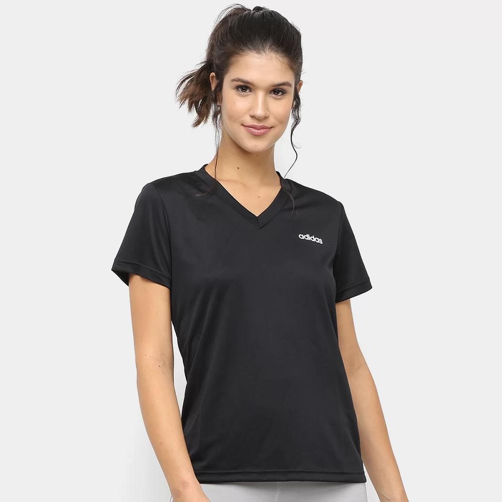 Camisa Adidas D2M Solid t - preta - Feminina
