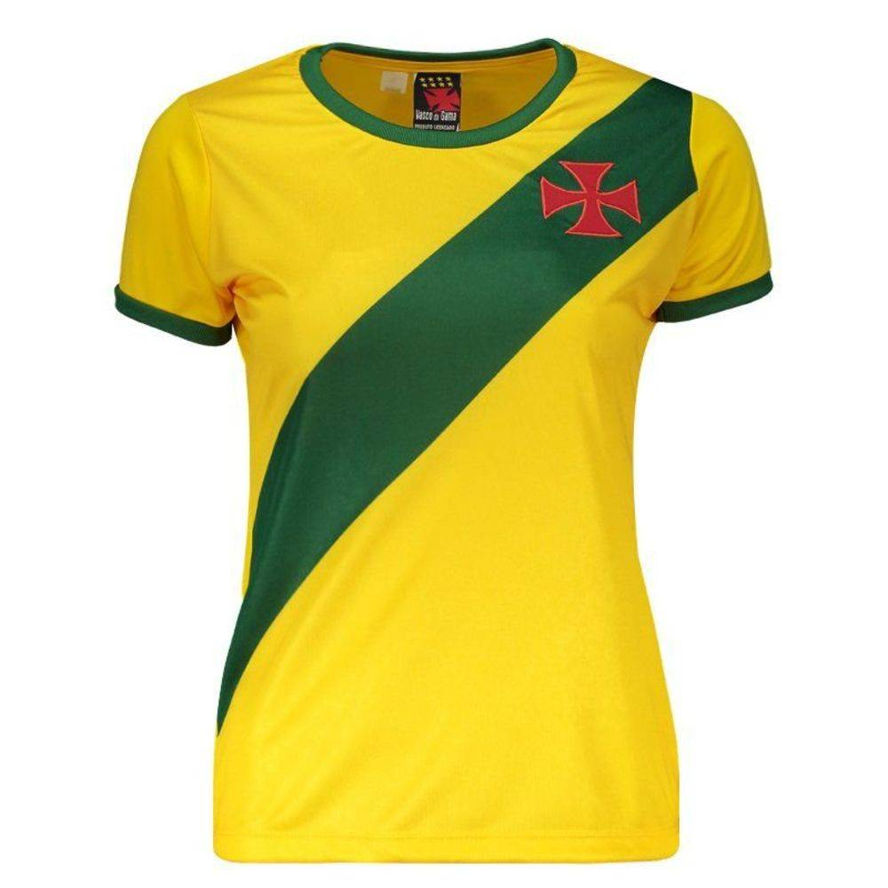0d1181bc82783 Camisa Braziline Brasil   Vasco Feminina - Amarela - Titanes Esportes