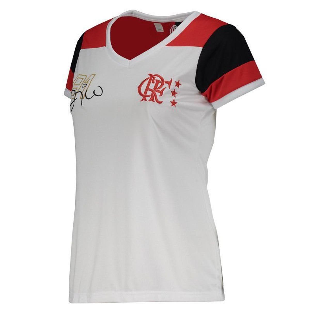 e2fa9f9863cff4 Camisa Braziline Flamengo Zico Retro Feminina - Branco - Titanes Esportes