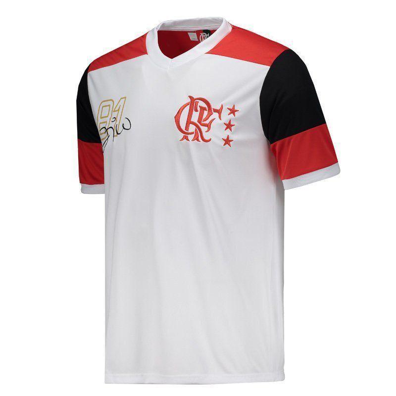 9812686527 Camisa Braziline Flamengo Zico Retrô Pala - Branco - Titanes Esportes