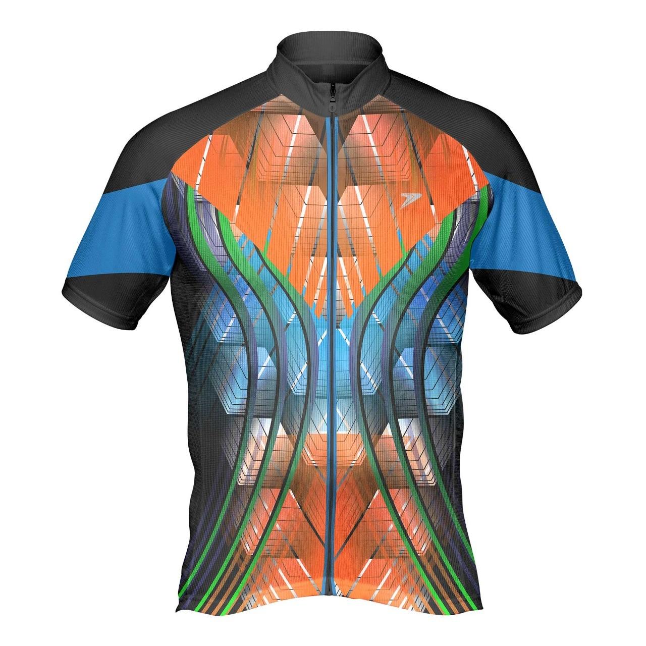 Camisa ciclista c/ zíper total Rush laranja - Poker