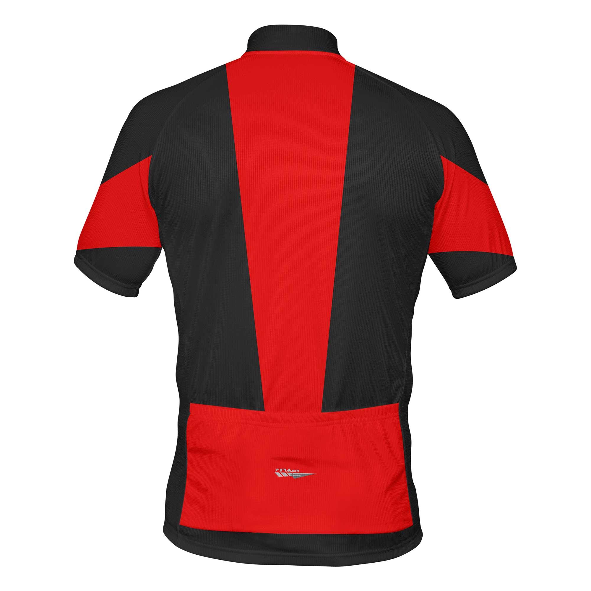 Camisa Ciclista c/ Zíper Total Rush Preto/Branco/Vermelha - Poker