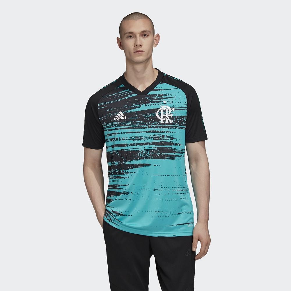 Camisa Flamengo Pré Jogo CRF - Adidas - Aqua/Black