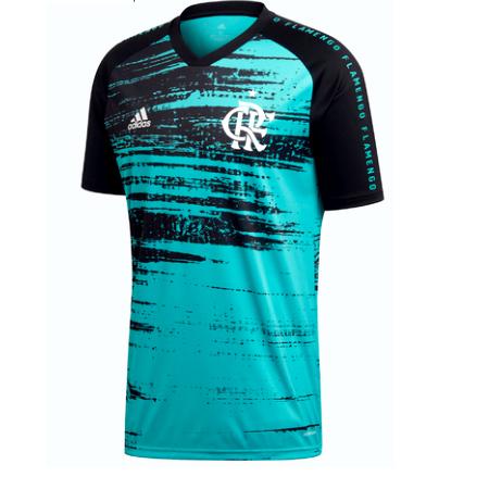 Camisa Flamengo Pré Jogo CRF - Adidas - Aqua / Black