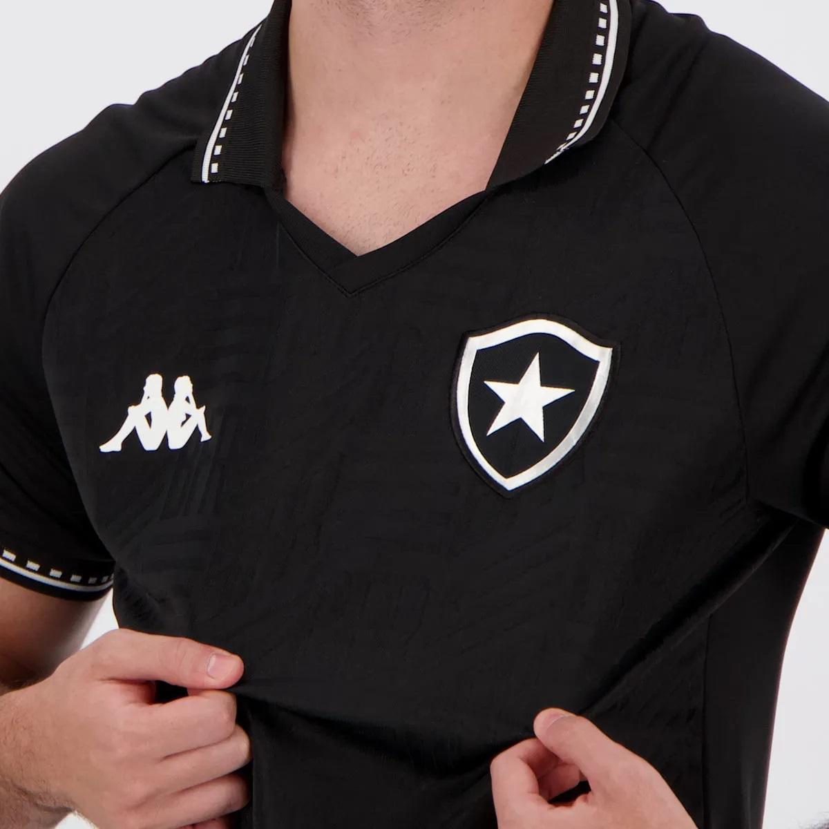 Camisa Kappa Botafogo Kombat Away II Player 2021 Masculina - Plus Size Preta