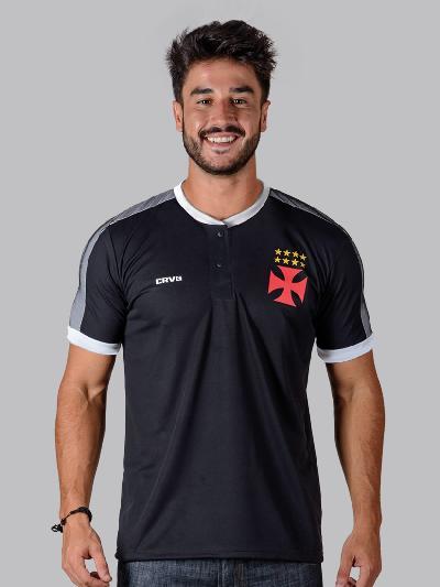 Camisa Polo Braziline Squid Vasco Masculina - Preto