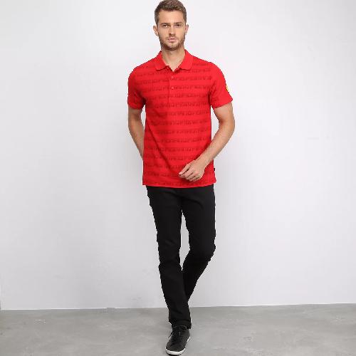 Camisa Polo Puma Reta Sf Aop Ferrari Vermelha
