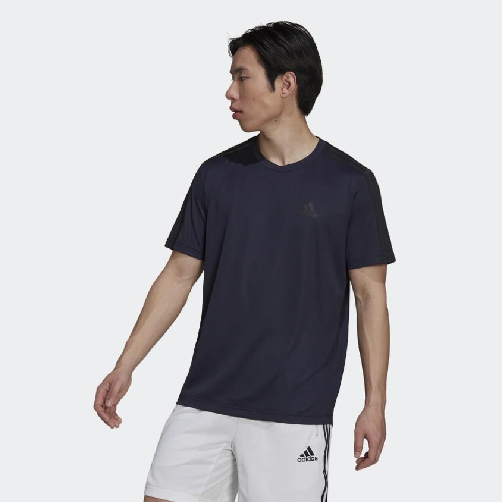 Camiseta Adidas Aeroready Designed To Move Sport 3S - Azul Escuro