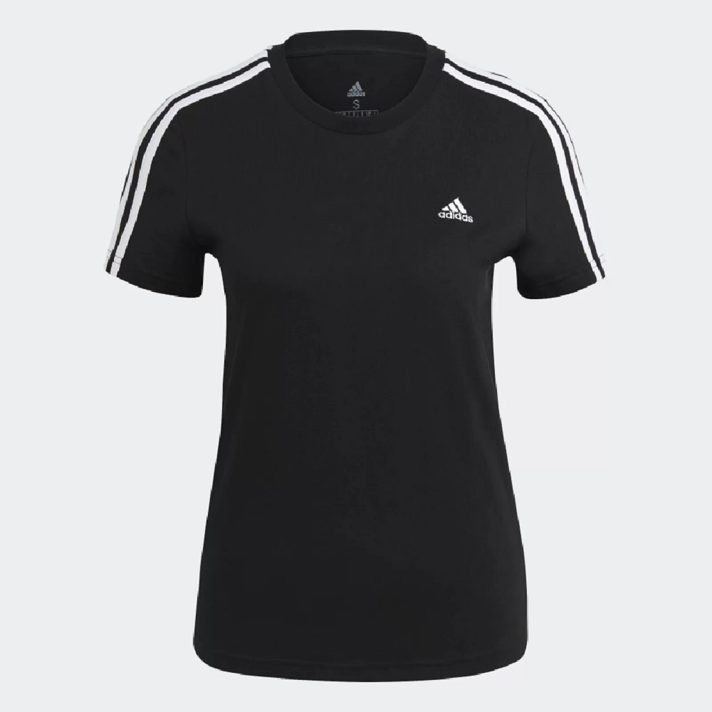 Camiseta Adidas Essential Slim 3 Listras Femenina - Preta / Branca