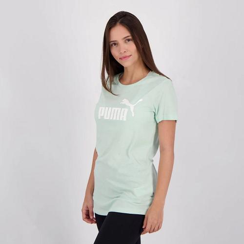 Camiseta Puma Aessentials heather Feminina - verde água