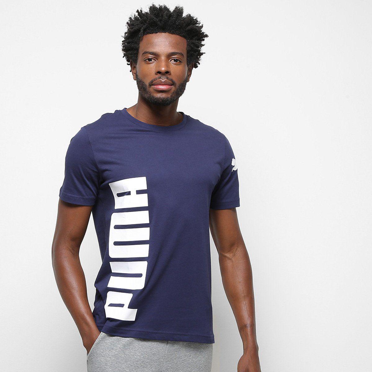 Camiseta Puma Big Logo Masculina - Marinho