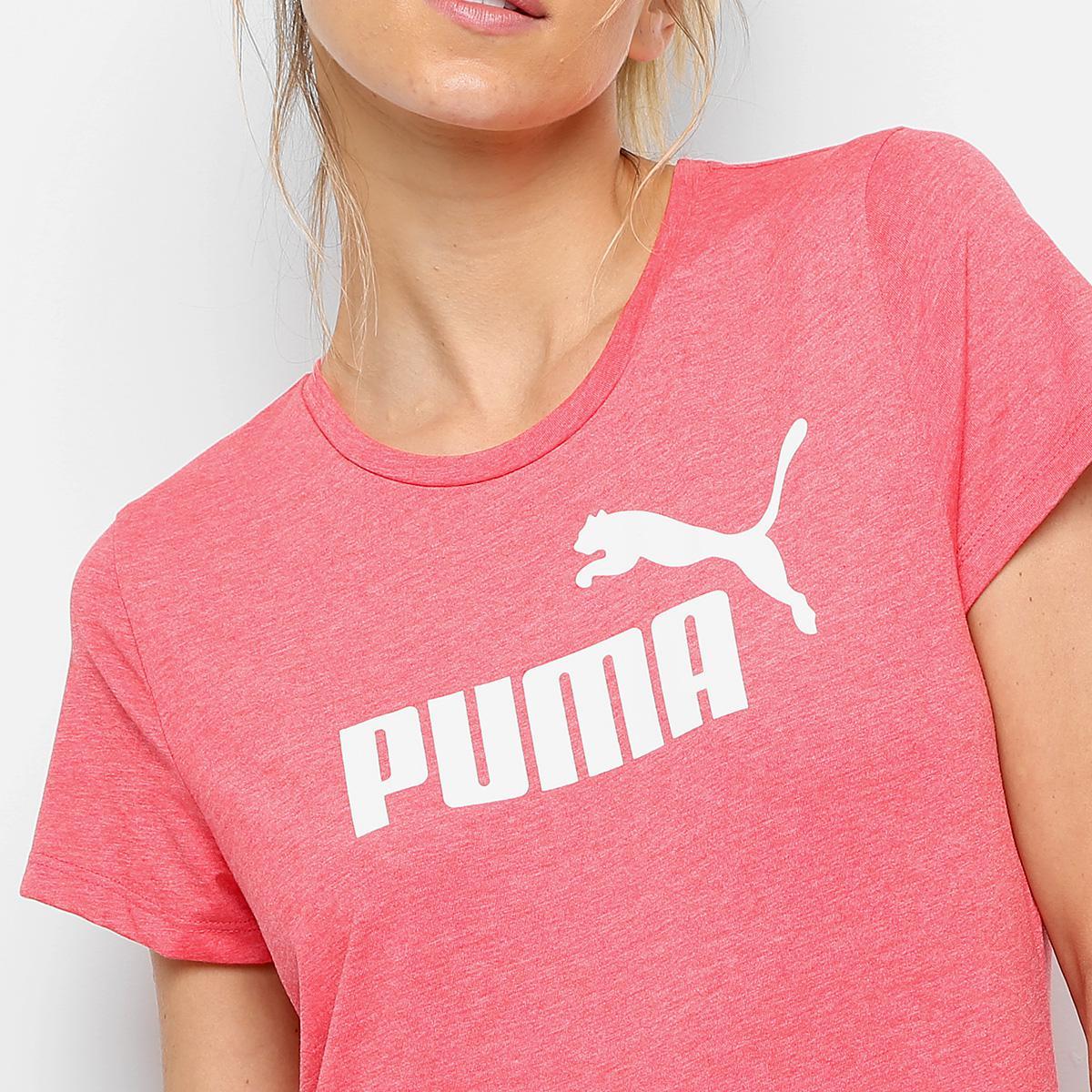Camiseta Puma Essentials Heather Tee - Rosa