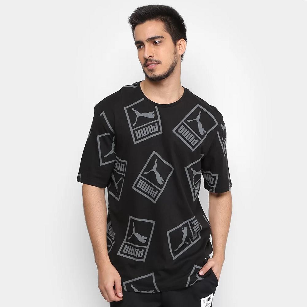 Camiseta Puma Graphic Downtown Masculina - Preto e Cinza