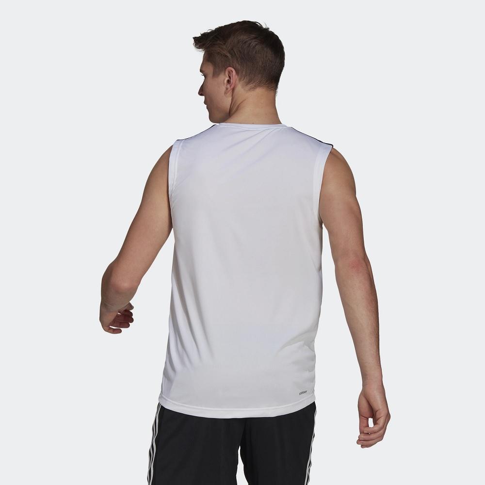 Camiseta Regata Adidas Esportiva D2M 3-Stripes Branca