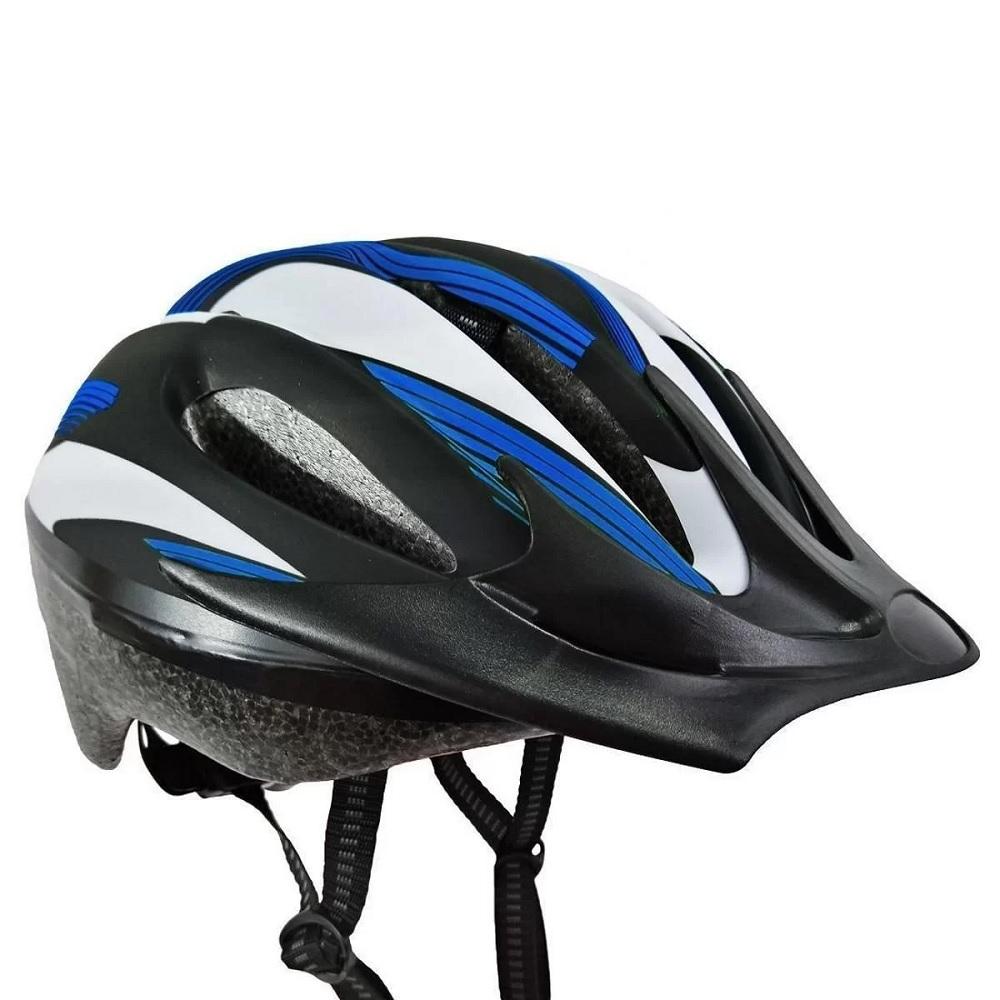 Capacete Bike Out Mold Adulto Poker - Preto/Azul/branco