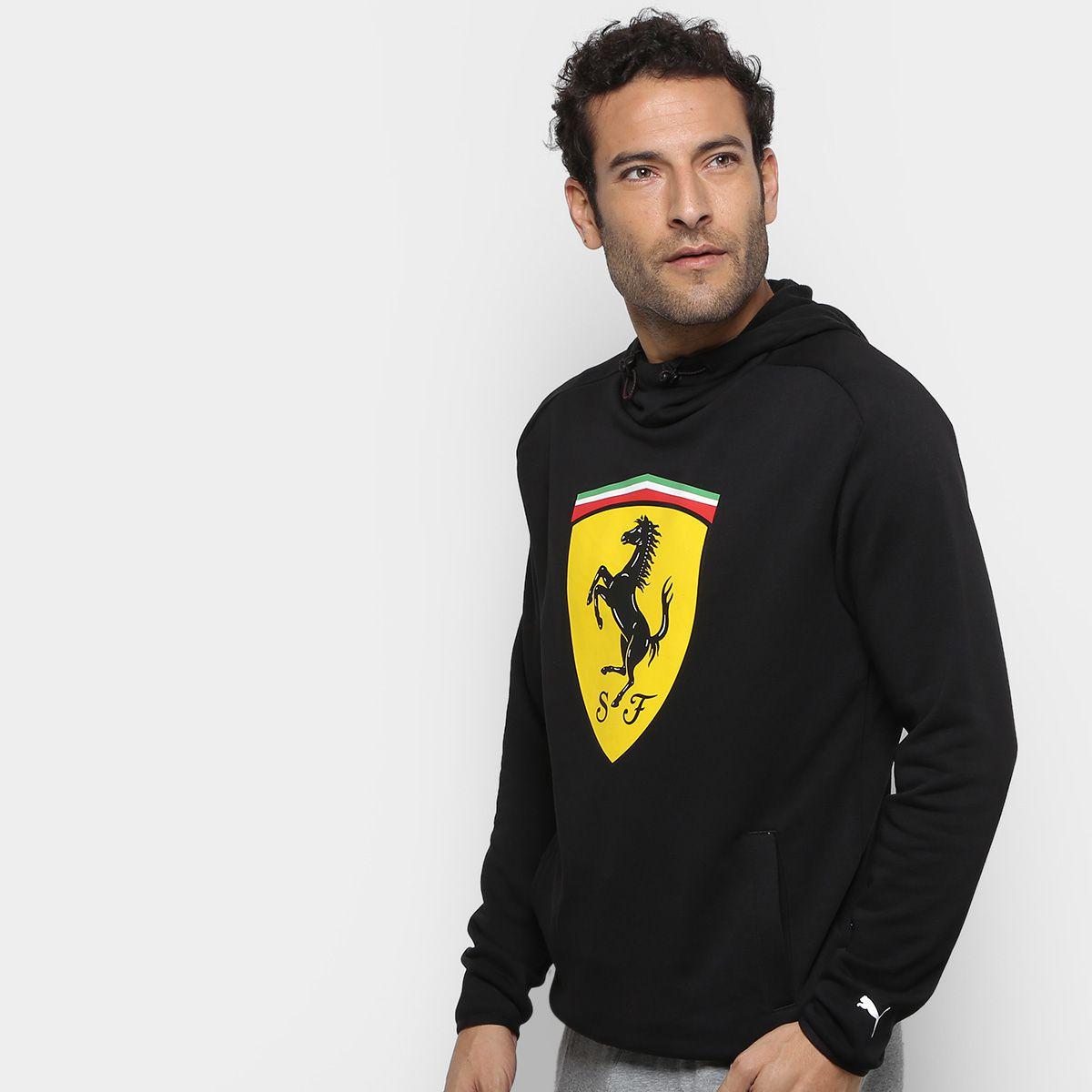 Casaco Moletom Puma Ferrari Scuderia Big Shield Sweat c  Capuz Masculino -  Preto - Titanes Esportes 3e44c1f2701