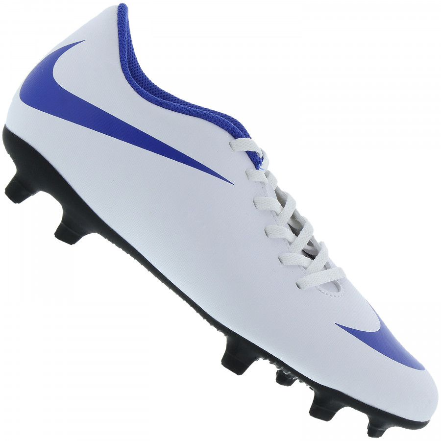 9ed06c312c6f8 Chuteira Campo Nike Bravata Ii Branco Azul - Titanes Esportes