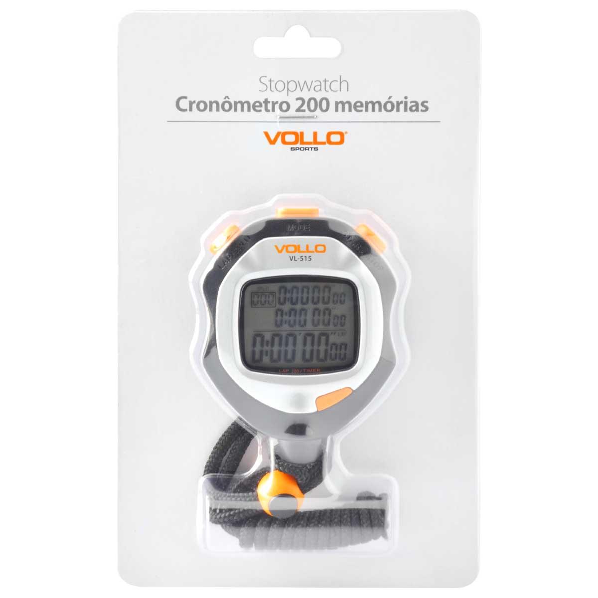 Cronômetro Vollo Stopwatch VL515 200 Memórias
