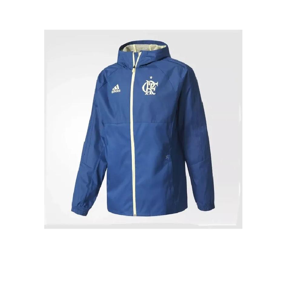 Jaqueta Adidas Flamengo Impermeável Cr \ Com Capuz - Azul
