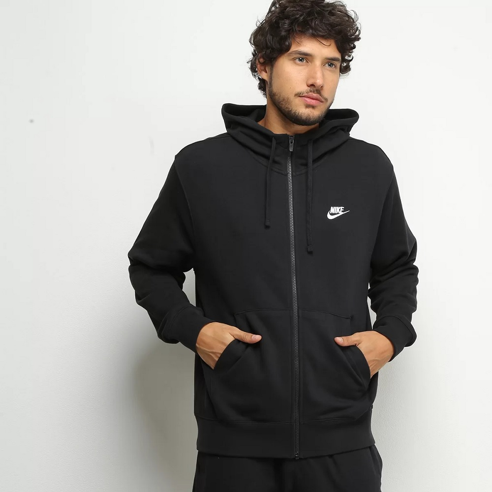 Jaqueta Nike Club Hoodie Masculina - Preto