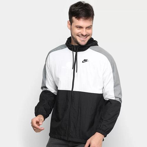 Jaqueta Nike Corta Vento Sportwear Color Block Masculina - Preto e Branco