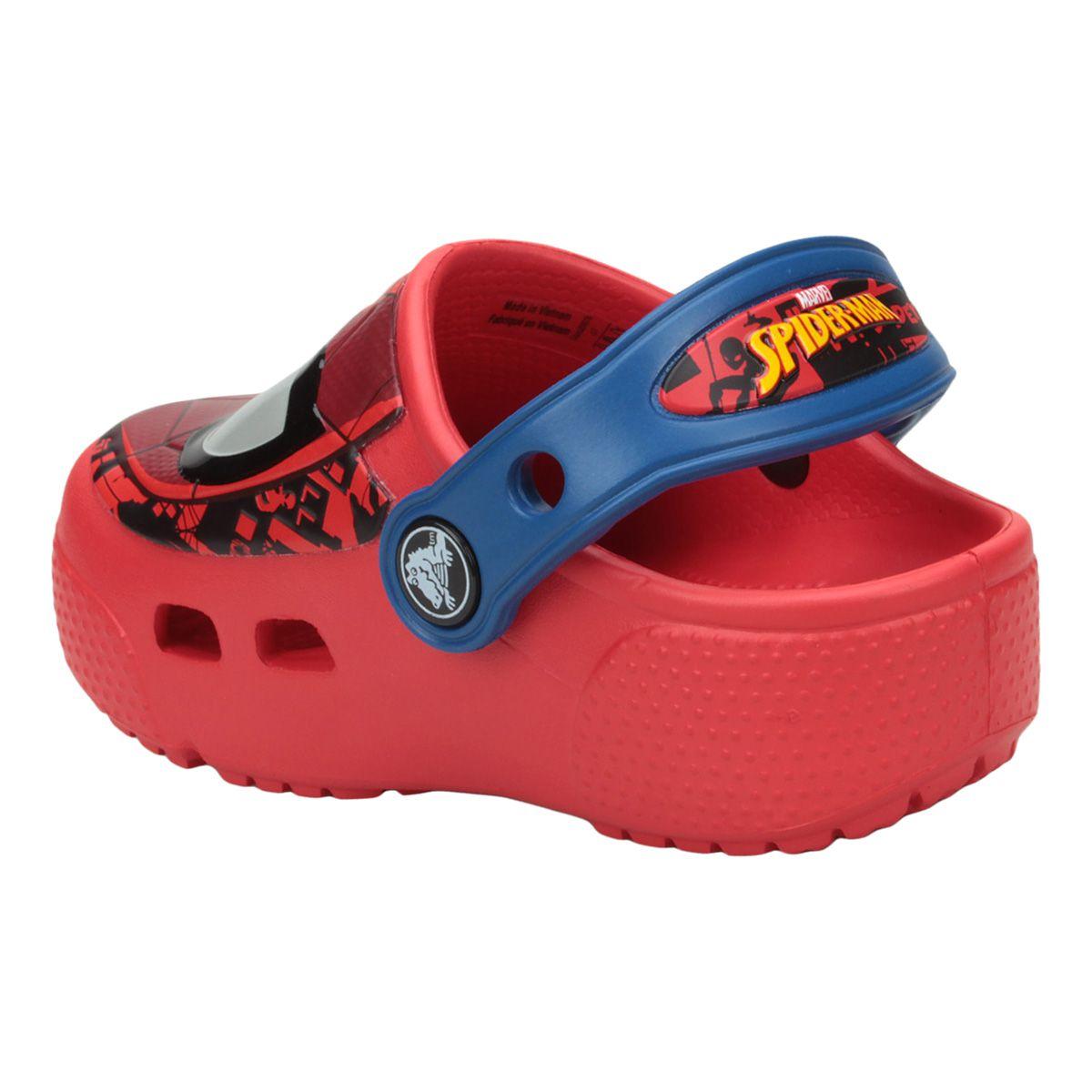 Sandália Crocs Kids Spider Man Lights Clogs - Vermelho