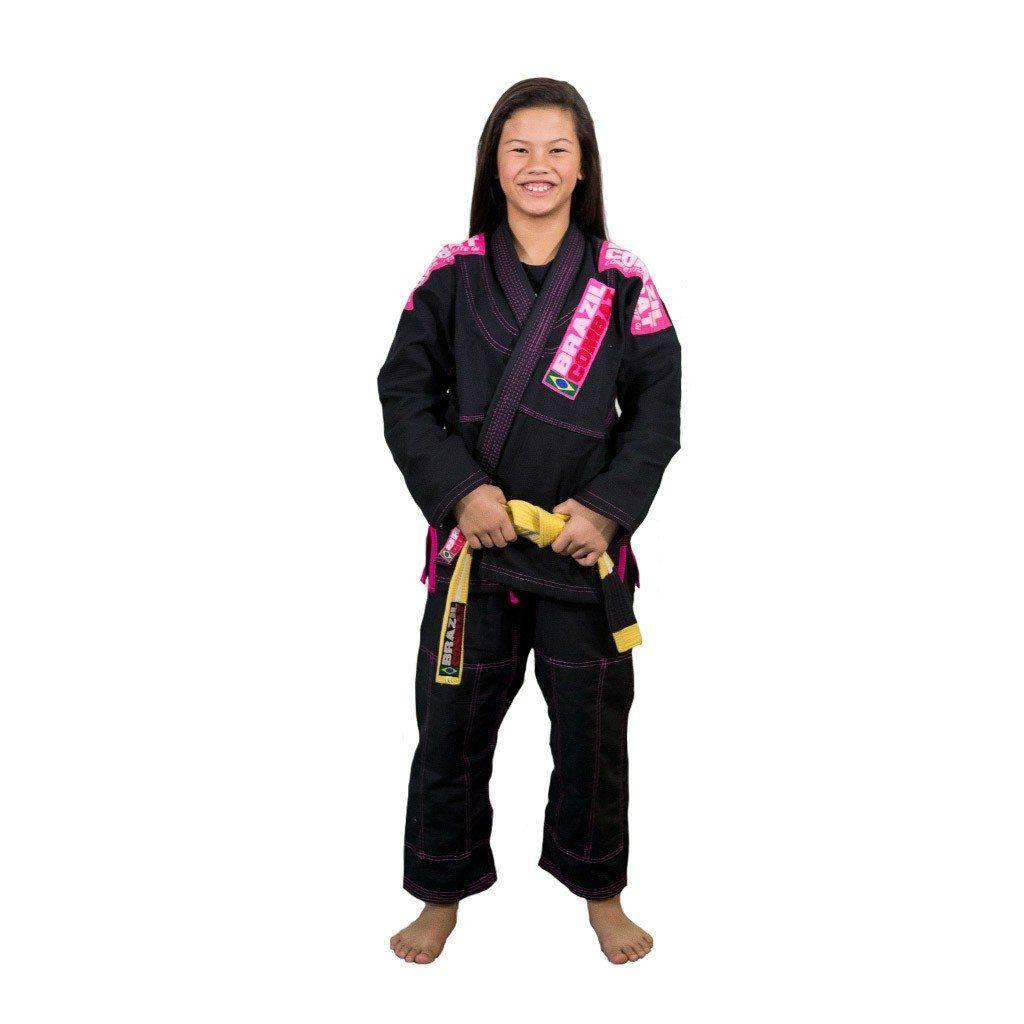 Kimono Infantil Xtra-Lite Preto/Rosa - Brazil combate