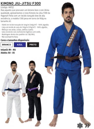 Kimono Trançado F300 Jiu Jitsu Haganah - Azul