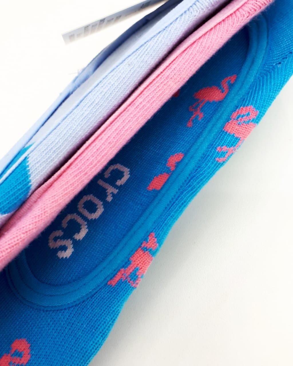 Kit c\3 Meia Crocs Invisível Azul\Rosal - 39-43