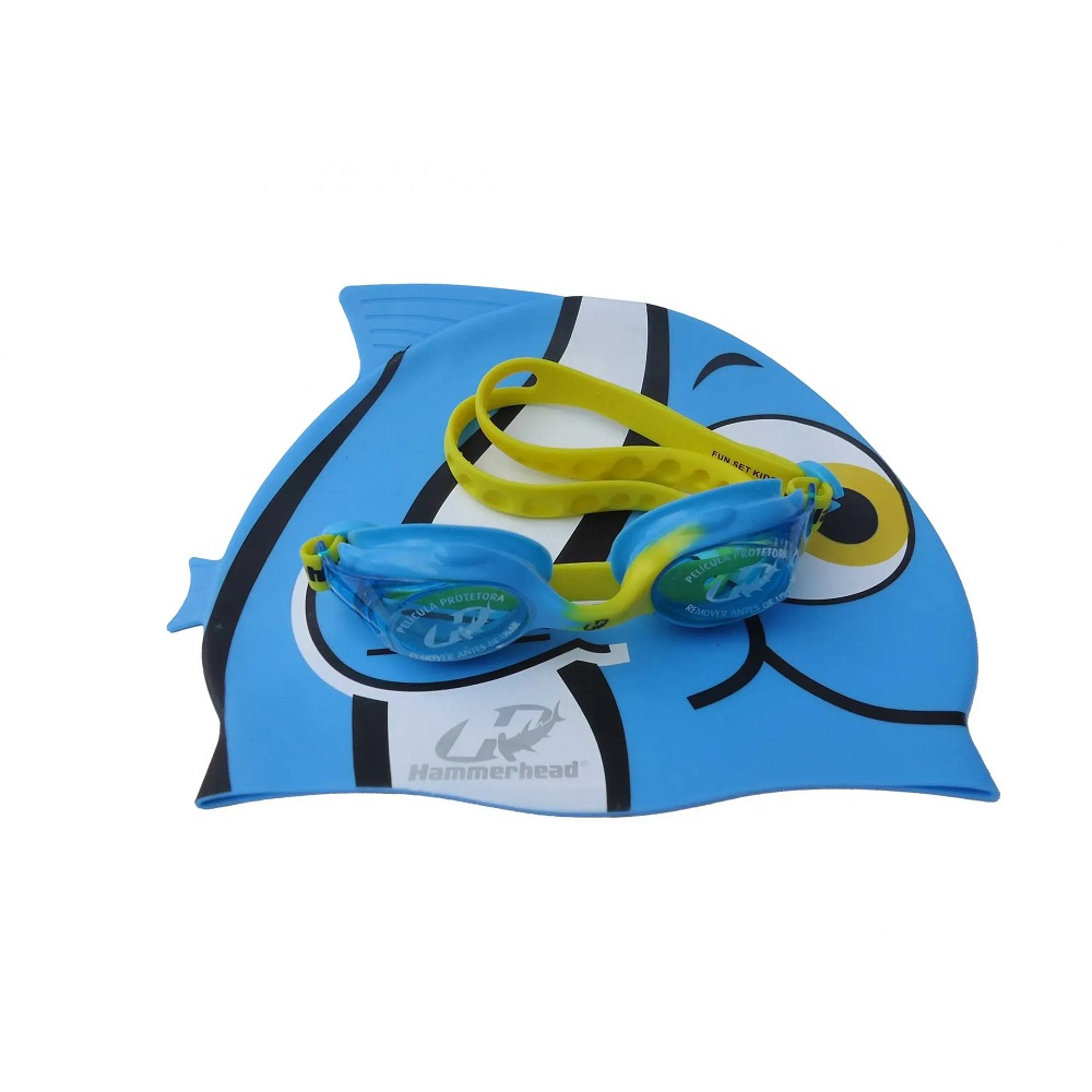 Kit Infantil Touca Óculos Hammerhead Fun Set - Azul